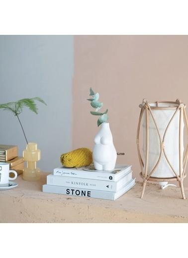Warm Design Porselen Gövde Vazo Beyaz